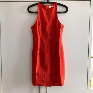 BYSI Missy Cut In Bodycon Dress in Vermilion Orange