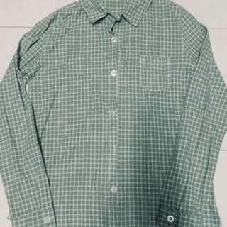 Korean Dusty Green Checkered/Boyfriend Top #MFEB20