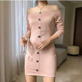 Buttondown Off Shoulder Dress