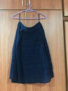 Blue Lace Midi Skirt