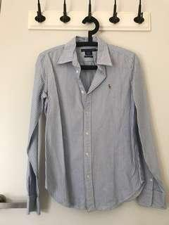 Ralph Lauren size 10 long sleeve blue stripe shirt