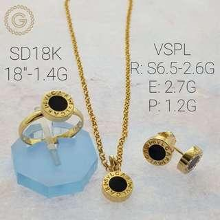 18k saudi gold bvlgari set (Necklace with earring and ring)