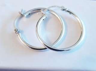 Sterling Silver Hoop Earrings- Pre-oened