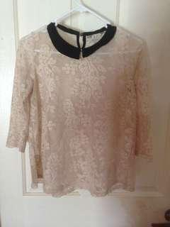 Size Small Zara Lace Top With Collar