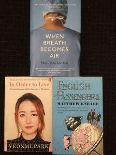 'When breath becomes air', 'In order to live' & 'English passengers'