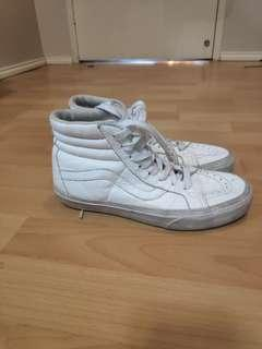 White leather vans hightops size 7