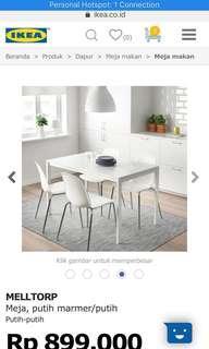 Ex display hanya meja makan melltorp motif marmer