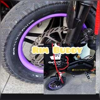 """12"""" Rim Buddy Purple Reflective Rim Stickers for Scooters and PMD (DYU, Fiido, Tempo, AM)"""