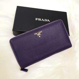 ON HAND: Authentic Prada Pebbled Leather Zippy Long Wallet