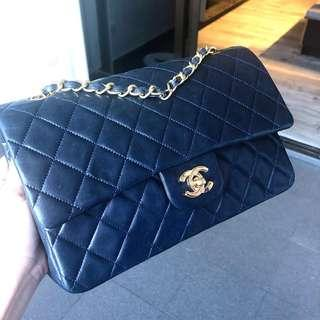 Authentic Chanel Navy Blue Classic Flap Bag w 24k Gold Hardware