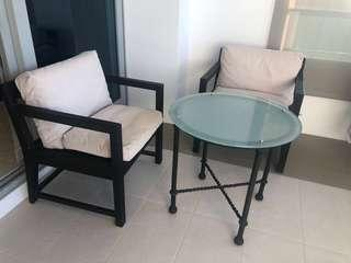 Outdoor Lounge Chair with Glass Coffee Table