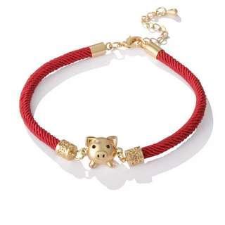 🚚 猪年好运手链 Gold plated Year of Pig good luck bracelet