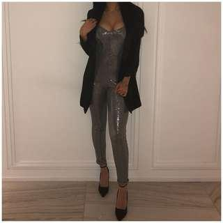 Metallic sparkly silver jumpsuit