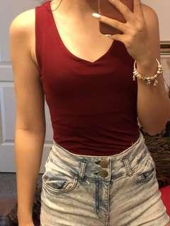 Long burgundy top
