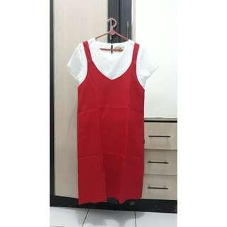 red overall dress (inner not included)