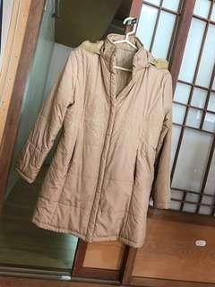 🚚 秋冬款刺繡加厚連帽中長款防風保暖大衣外套 卡其駝色