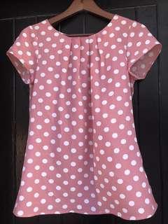 Blush polka dot blouse pleat collar size 8
