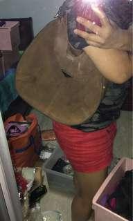Big brown suede hobo bag - Free Courier