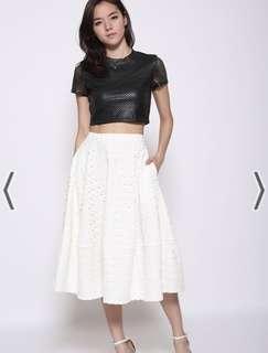🚚 Love Bonito Kindra Eyelet Midi Skirt in White