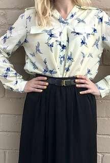 Cream shirt with navy bird print size 8