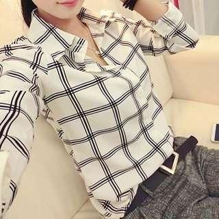 Plaid White Long Sleeve Blouse Shirt