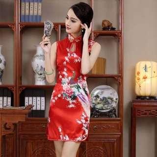Cheongsam Silk  Satin Chinese New Year Qipao Dress