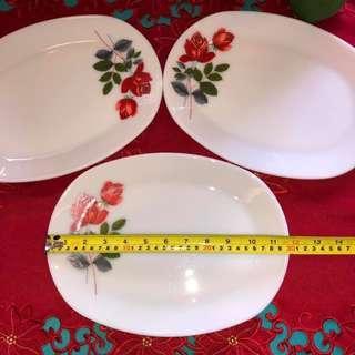 Vintage June Rose Pyrex Oval Plate