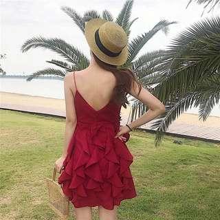 Plain / basic sleeveless flare dress