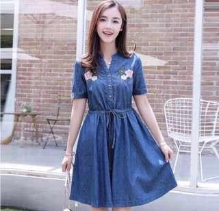 🌷(IN STOCK) Embroidery Floral Denim Dress