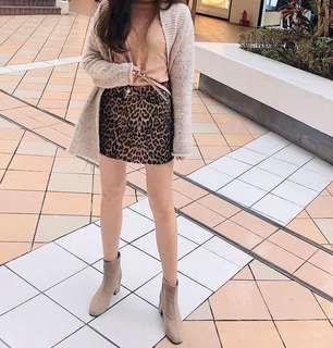韓流時尚 微方頭粗跟奶茶色短靴
