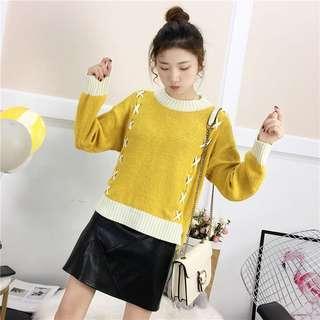 🚚 (57923)韓版寬鬆慵懶風綁帶拼接毛衣(四色)