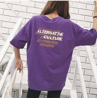 Purple Oversize Loose Alternative Culture Shirt