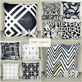 Sarung bantal sofa (cushion cover) black and white