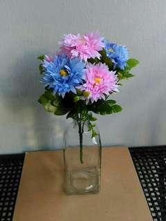 Cornflowers with Square Handmade Clear Glass Vase
