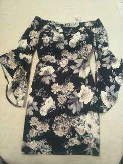 Bodycon Floral Offshoulder Flared Arm Dress