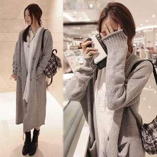 🚚 (57928)加厚寬鬆毛衣開衫外套(淺灰色)