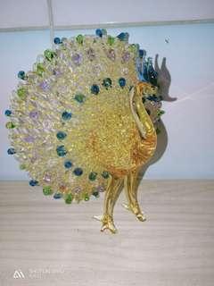 🚚 玻璃藝術品 拉絲 孔雀 高度 17公分 完好品