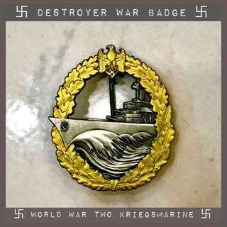 World War Two Nazi Destroyer War Badge Kriegsmarine German Navy Hitler Swastika Third Reich