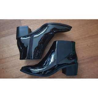 Isabella Anselmi Black Leather Patent Boots for SALE!