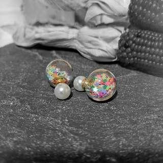 Starwish Glitter Globe Earrings - 20 gauge - Gold/Faux Pearl