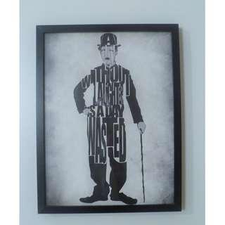"UNIQUE ! Ikea Ribba Framed Picture Charlie Chaplin "" Without Laughter Is A Day Wasted """