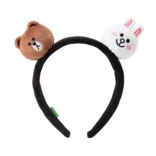 🚚 LINE FRIENDS 熊大x兔兔 臥姿玩偶髮箍 髮圈 髮飾 韓國女團TWICE周子瑜同款
