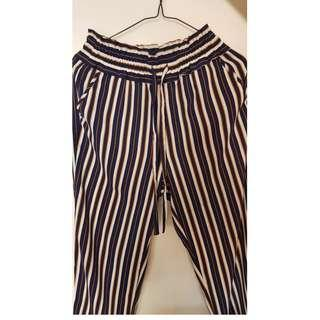 NEW Zara Striped Tapered Trousers for SALE XS