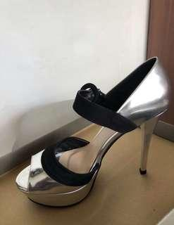 Charles & Keith Silver Stiletto Heels with Black Velvet Ankle Straps
