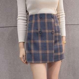 Korean Checkered Plaid Skirt Highwaist Button Casual Skirt
