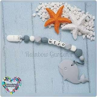 Handmade Customized Pacifier Clip with letter beads + Grey Whale Teether