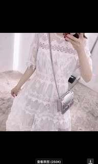 White laces midi dress