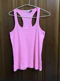 MNG MANGO 粉色 素色 越南製 坦克背心 挖背背心 運動背心