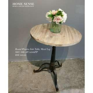 ROUND WOODEN SIDE TABLE / METAL LEG