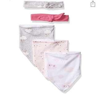 🚚 BN Rene Rofe Baby Girl 5 Piece Headbands Cloud Bib Set! 0 mths up!
